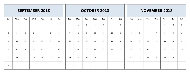 September October November 2018 Calendar Printable Three Month for 3 Month Calendar Printable With Notes September October November