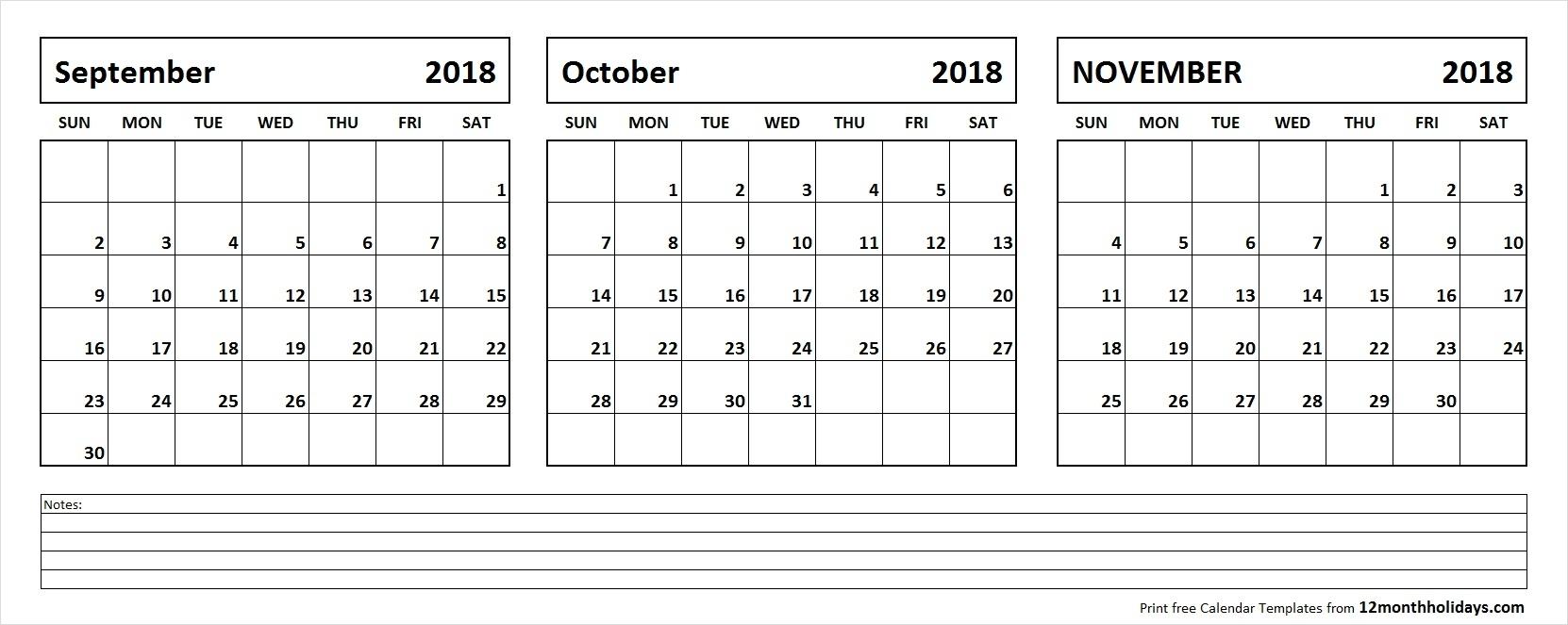 September October November 2018 Calendar Template | 3 Month Calendar for 3 Month Calendar Printable With Notes September October November
