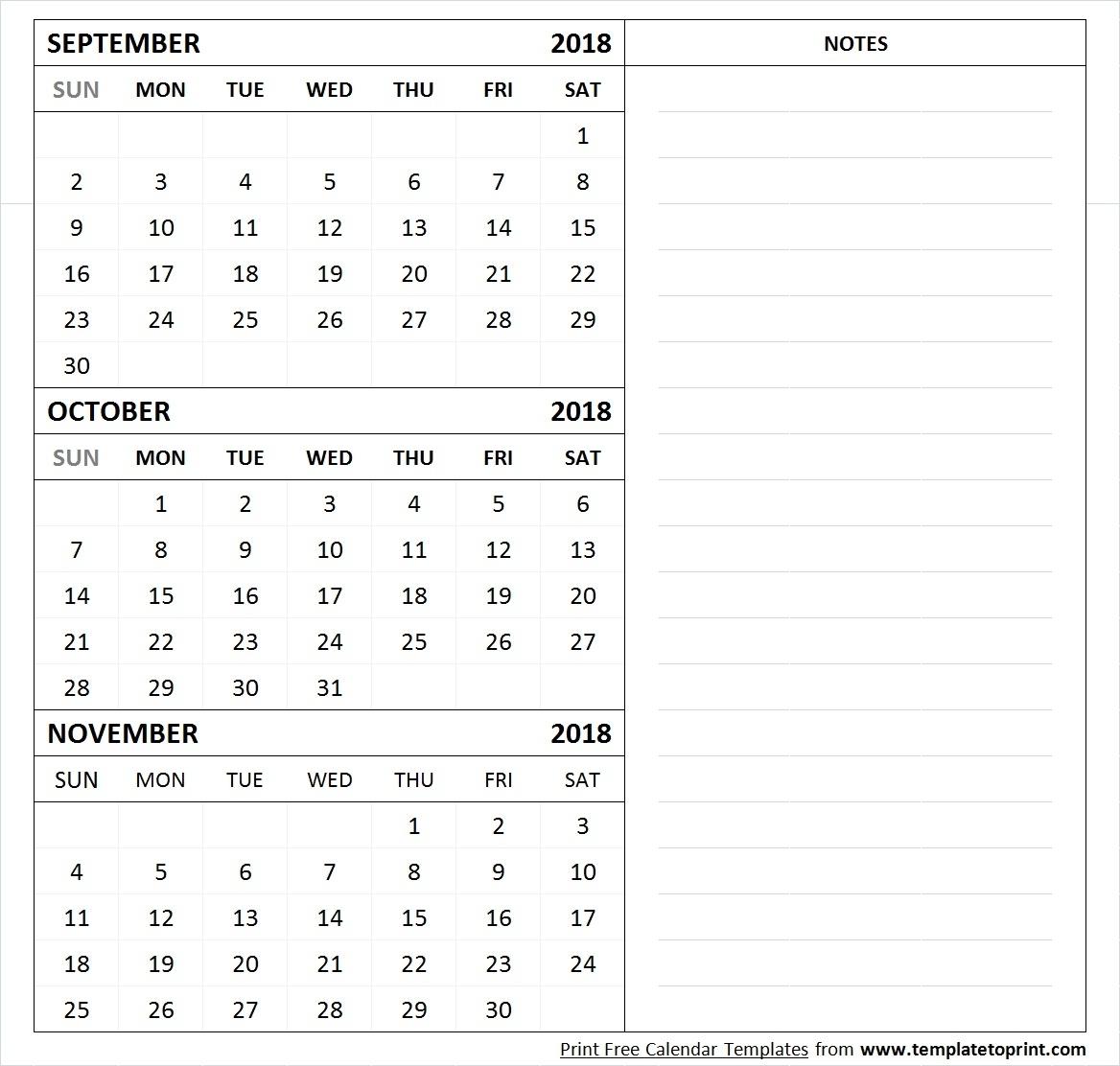 September October November 2018 Calendar Template 3 Month Calendar regarding 3 Month Calendar Printable With Notes September October November
