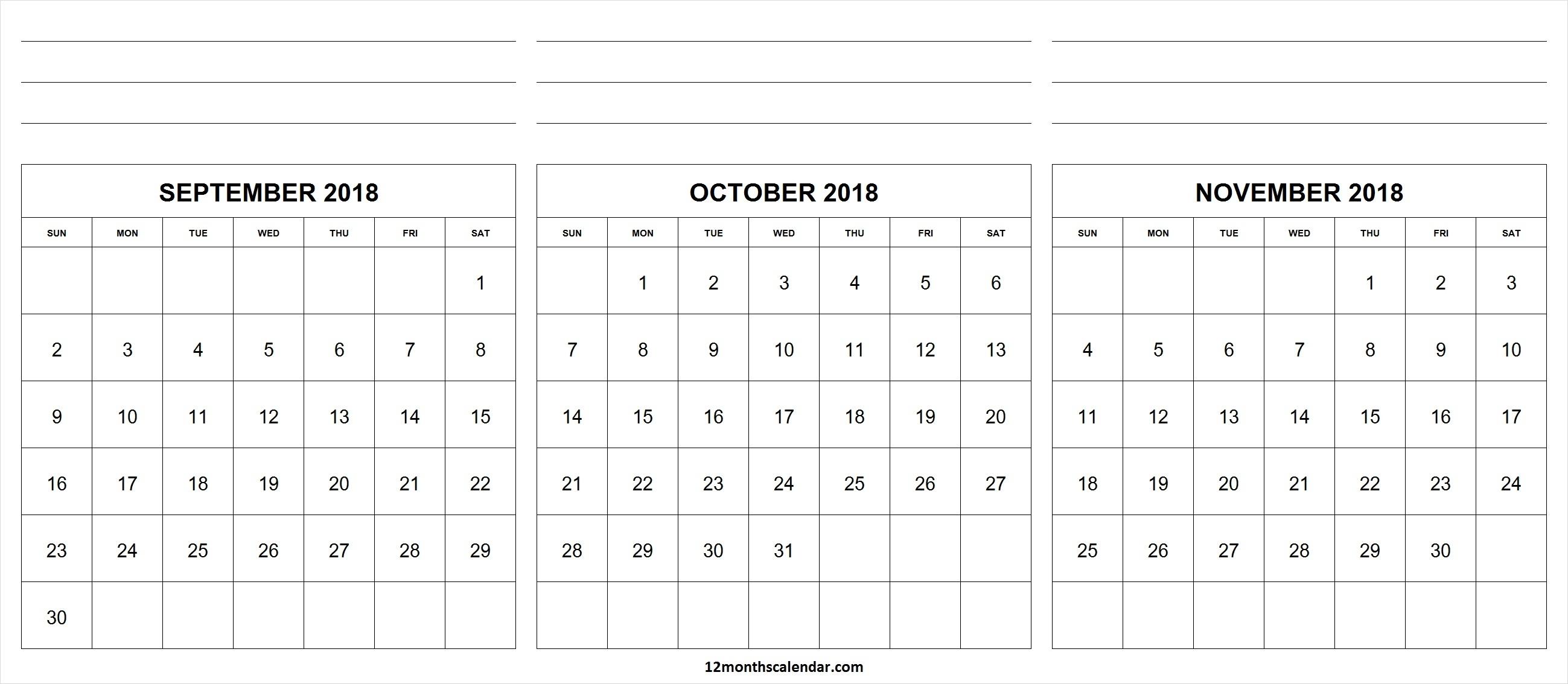 September October November 2018 Calendar With Notes | Month Calendar with regard to 3 Month Calendar Printable With Notes September October November