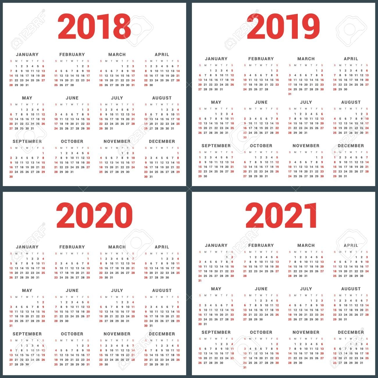 Set Of Calendars For 2018, 2019, 2020, 2021 Years. Week Starts for Calendar 2019 2020 2021