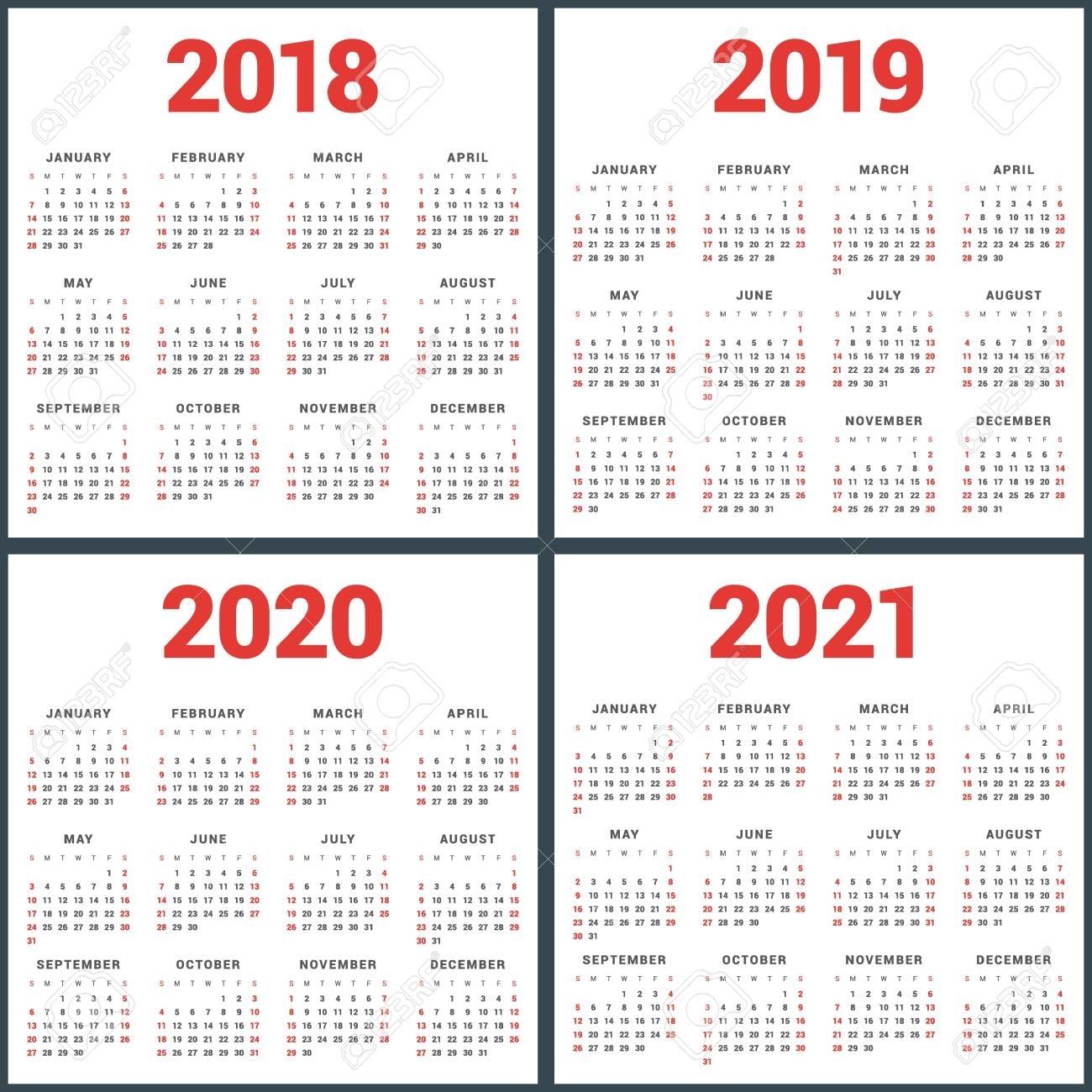 Set Of Calendars For 2018, 2019, 2020, 2021 Years. Week Starts inside Free Editable Calander 2019-2020 Start On Sunday
