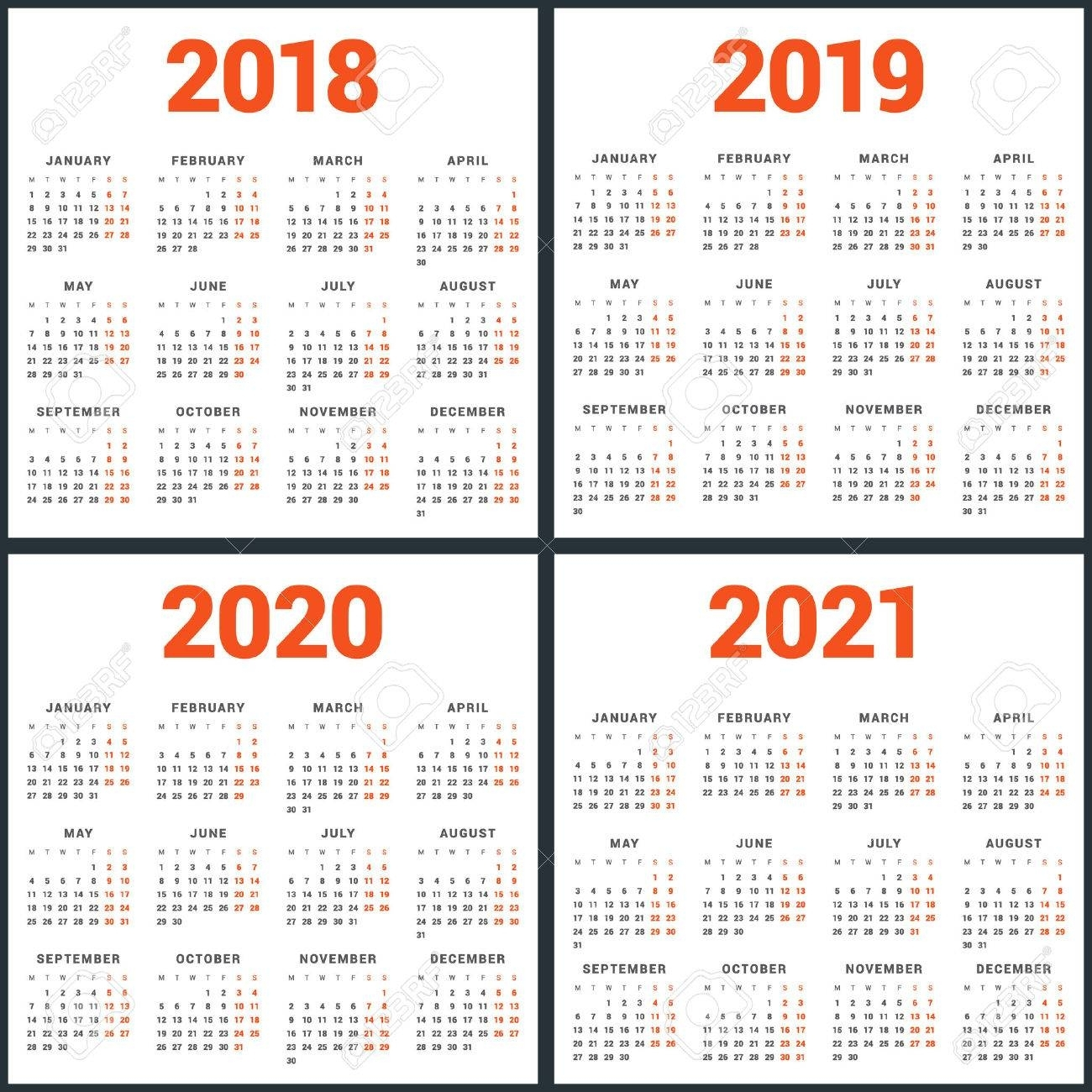 Set Of Calendars For 2018, 2019, 2020, 2021 Years. Week Starts pertaining to 2020 8 X 10 Calendars