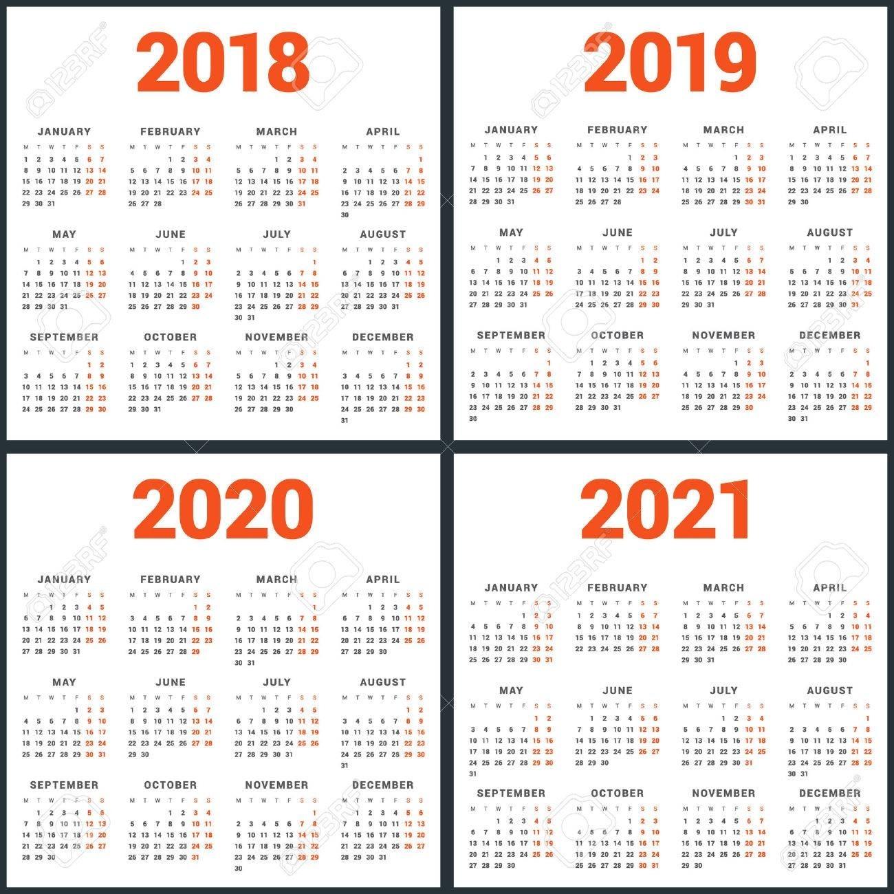 Set Of Calendars For 2018, 2019, 2020, 2021 Years. Week Starts regarding Week Count Calendar 2019-2020