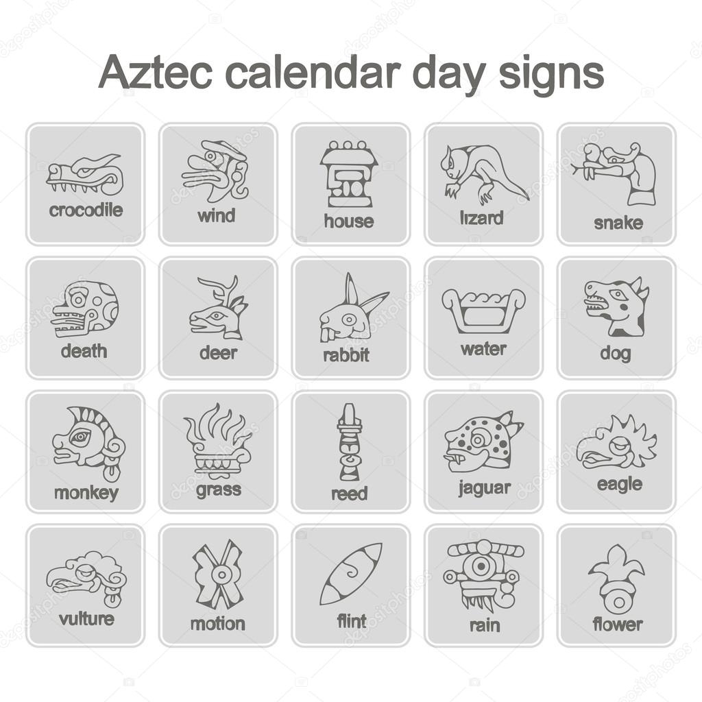 Set Of Monochrome Icons With Aztec Calendar Day Signs — Stock Vector with regard to Aztec Calendar Symbols And Meanings