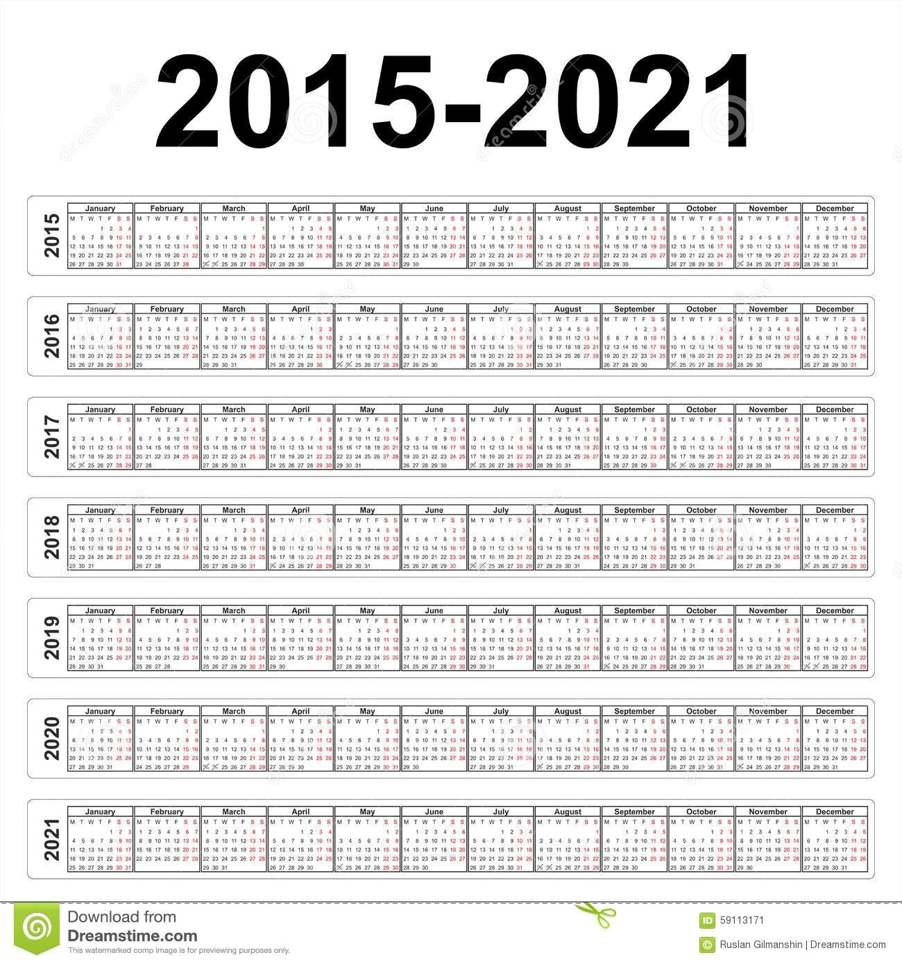Seven Years Vector Calendars Stock Vector - Illustration Of Calender pertaining to Leap 2020 Calendar-Year