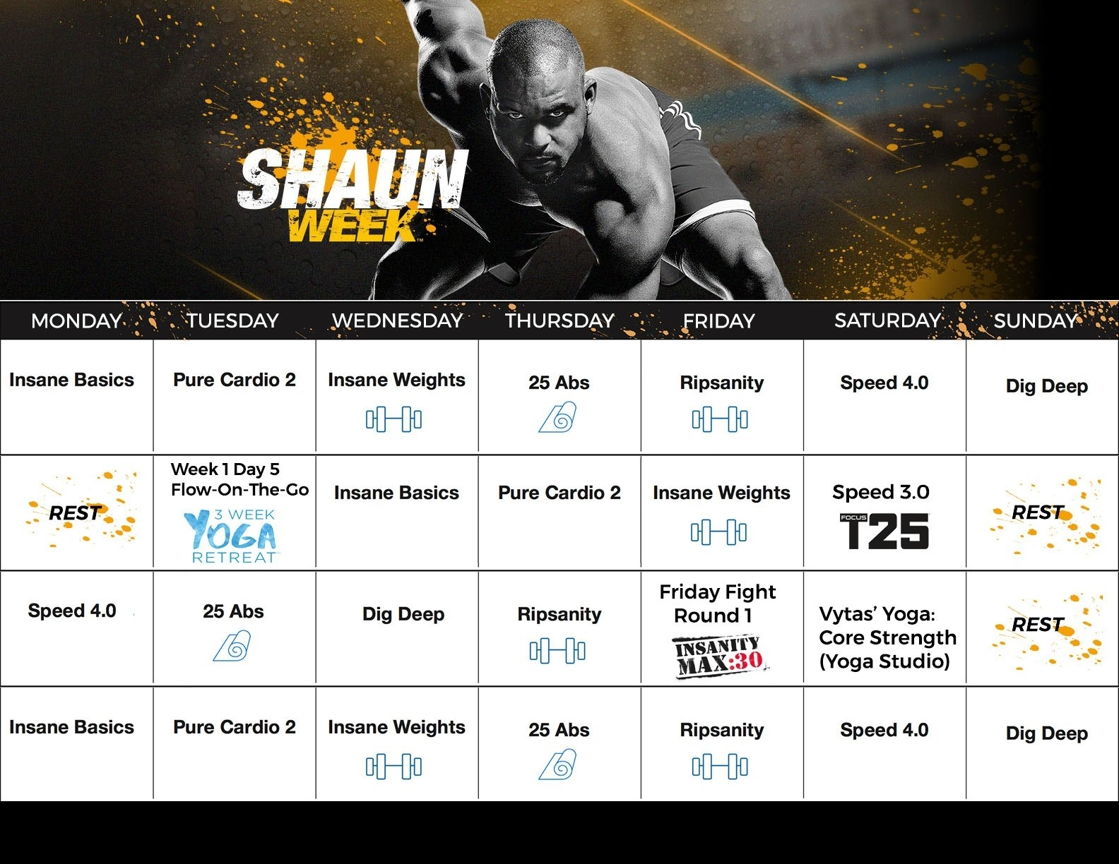 Shaun T Shaun Week Calendar with Shaun T Insane Abs Calendar Schedule
