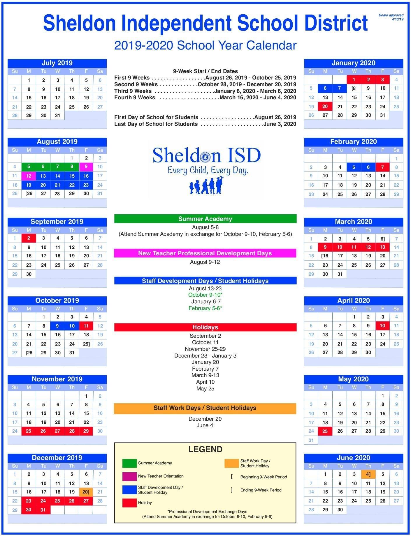 Sheldon Isd regarding U Of M Calendar 2019-2020 School Year