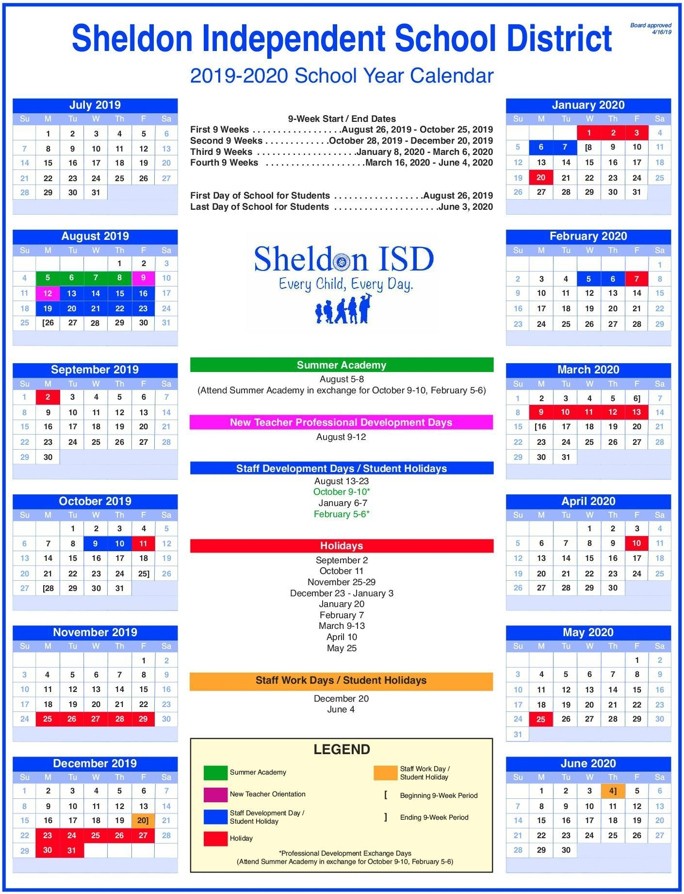 Sheldon Isd regarding U Of R Calendar 2019-2020