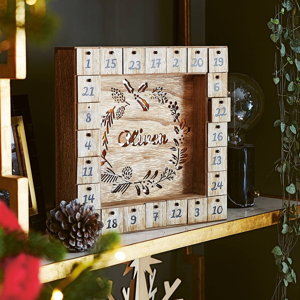 Shoptagr | Personalised Wooden Advent Calendar Light Boxlisa Angel for Wooden Advent Calendar With Lights And Boxes