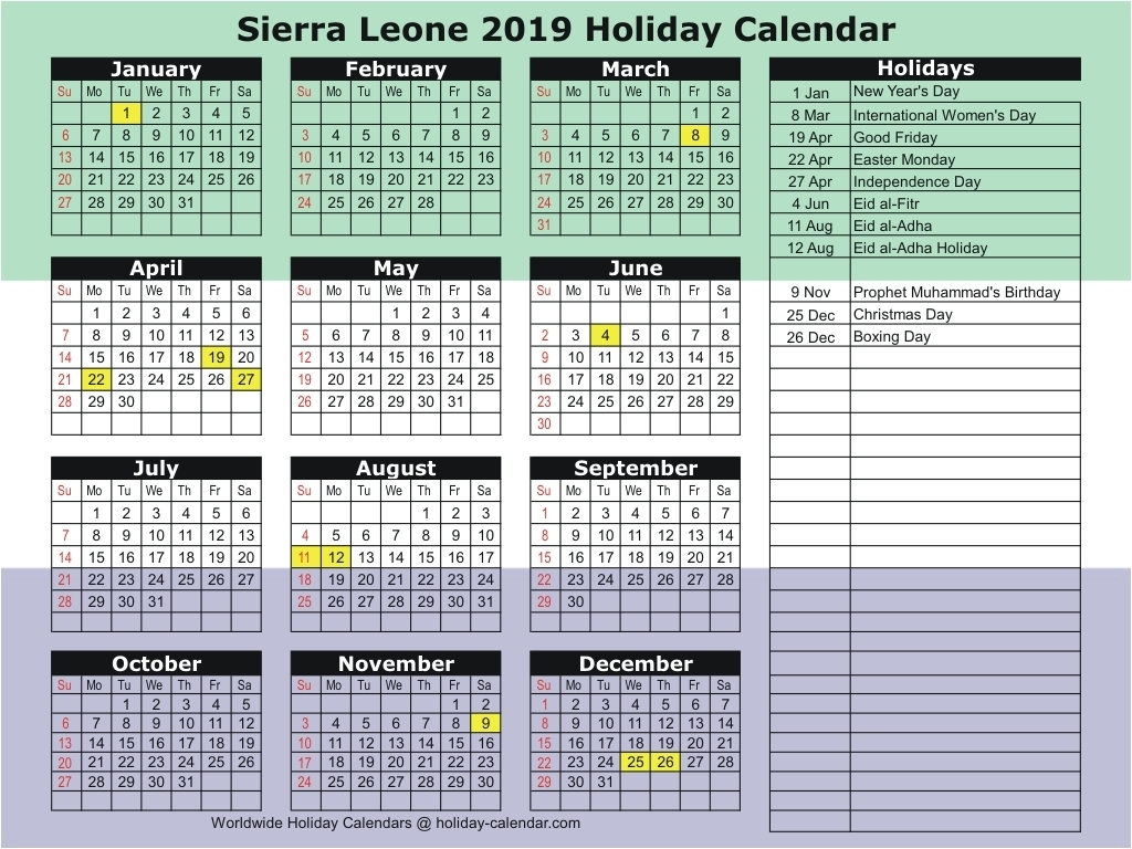 Sierra Leone 2019 / 2020 Holiday Calendar with regard to Unm Calendar 2019-2020