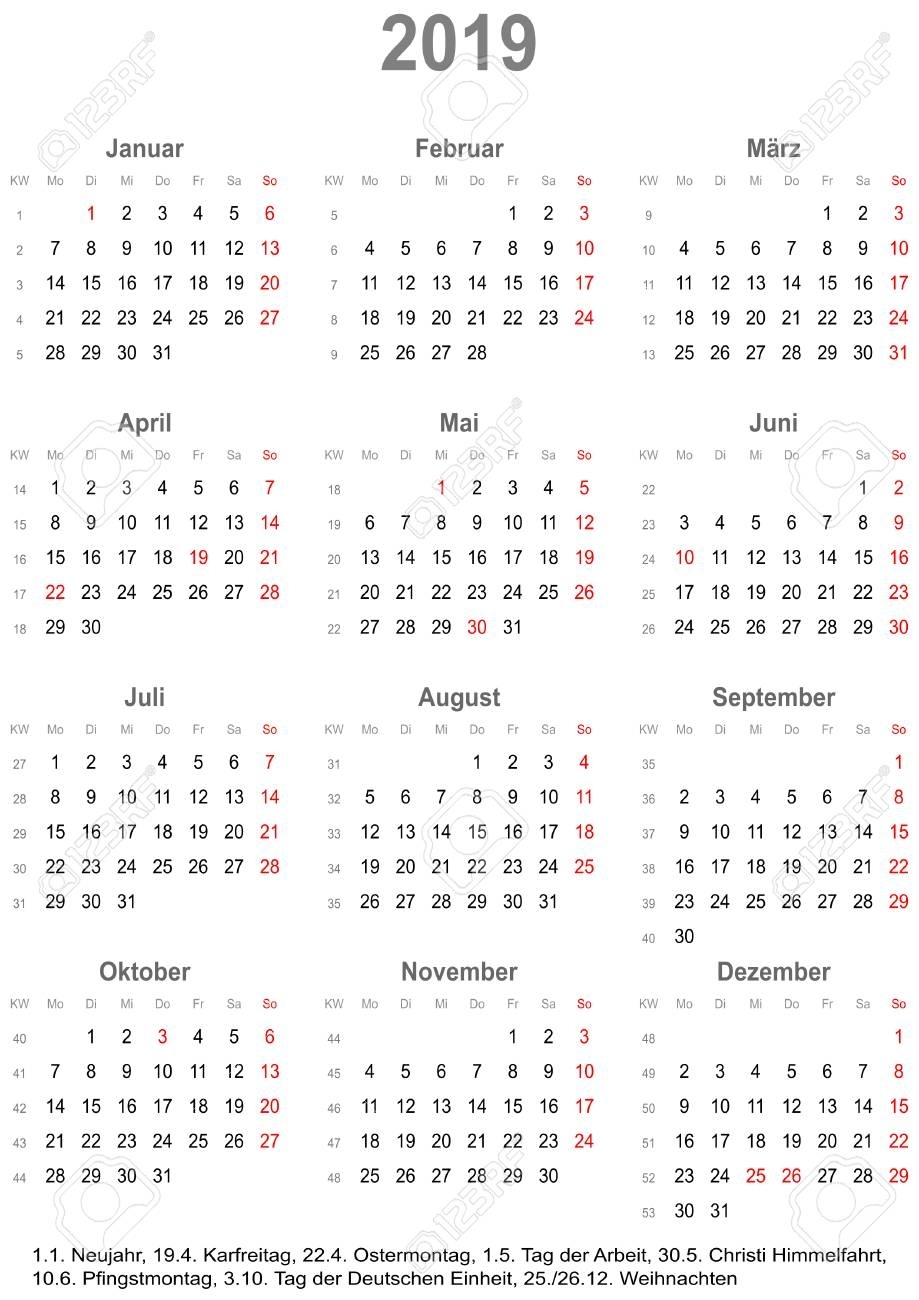 Simple Calendar 2019 - One Year At A Glance - Starts Monday With within Year At A Glance Calendar