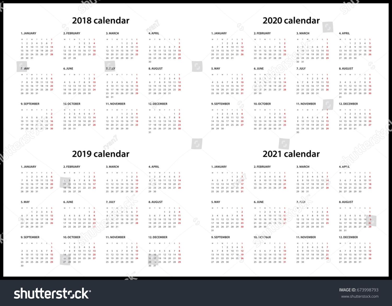 Simple Calendar For 2018, 2019, 2020… Stock Photo 673998793 - Avopix throughout 2019/2020 Calendars Starting On Monday