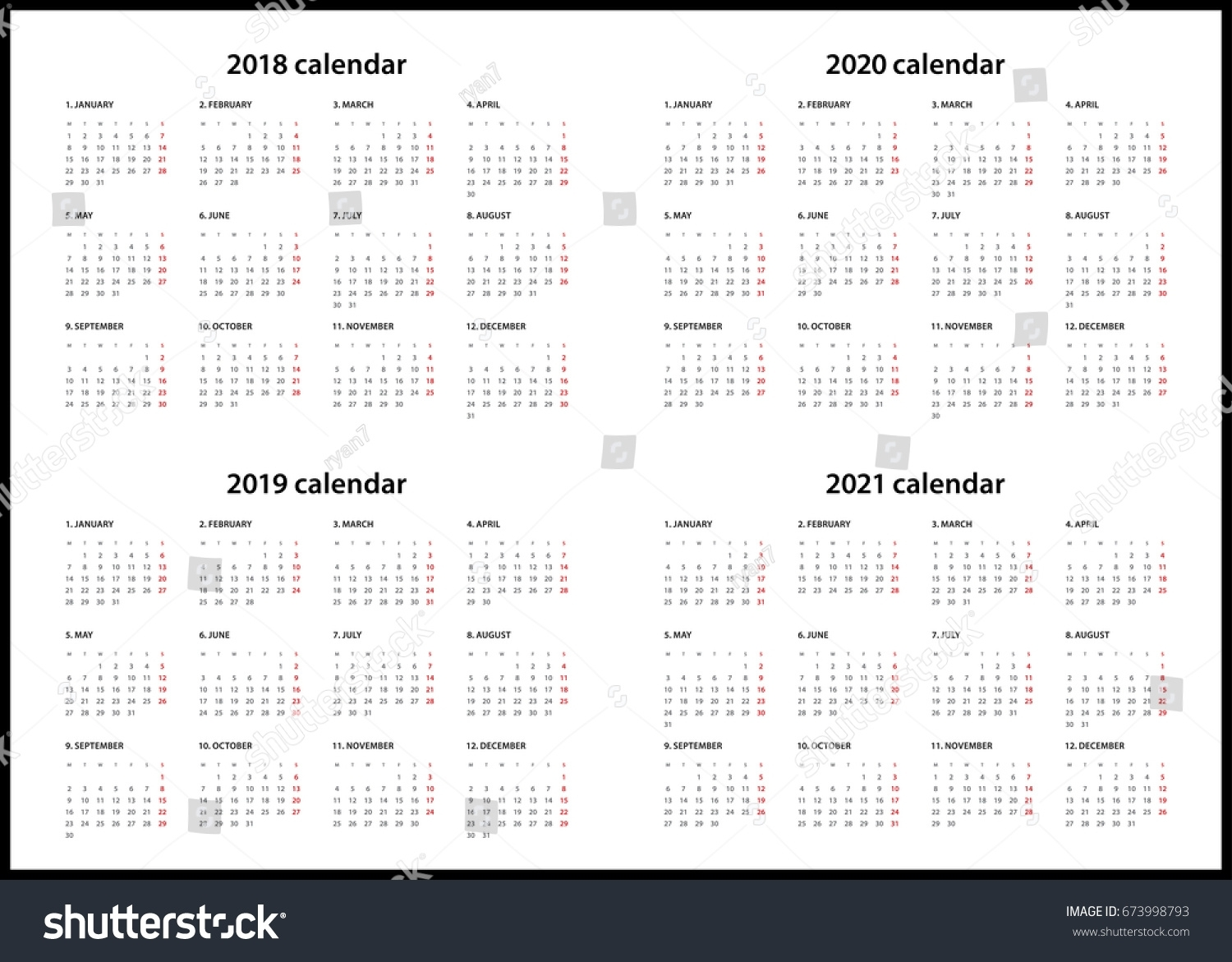 Simple Calendar For 2018, 2019, 2020… Stock Photo 673998793 - Avopix with 2019-2020 Calendar Starting On Mondays