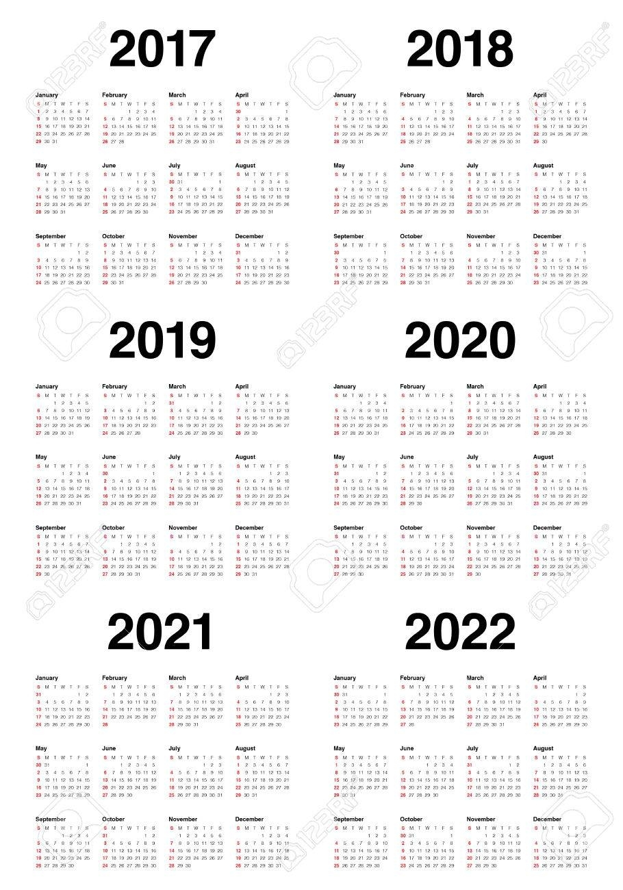 Simple Calendar Template For 2017, 2018, 2019, 2020, 2021 And in 2019 2020 2021 Printable Calendar Free