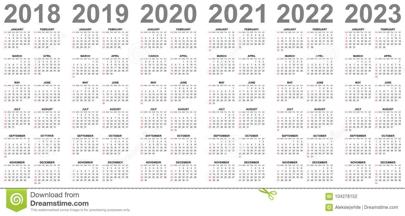 Simple Calendars For Years 2018 2019 2020 2021 2022 2023 Sundays In inside Printable Calendar For 2019/2020/2021/2022/2023