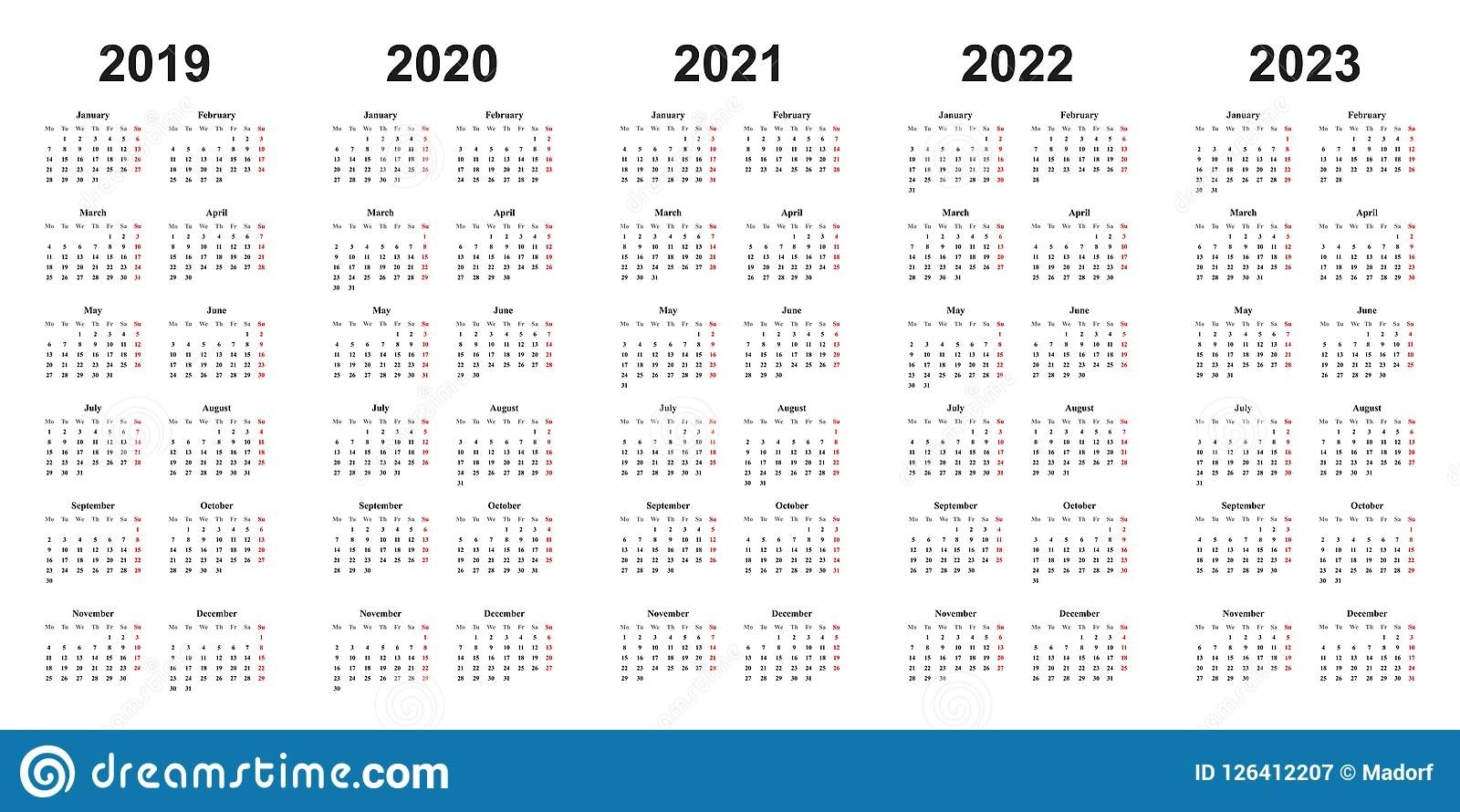 Simple Design Calendar With Years 2019, 2020, 2021, 2022, 2023 Stock in 2020 To 2023 Calendars