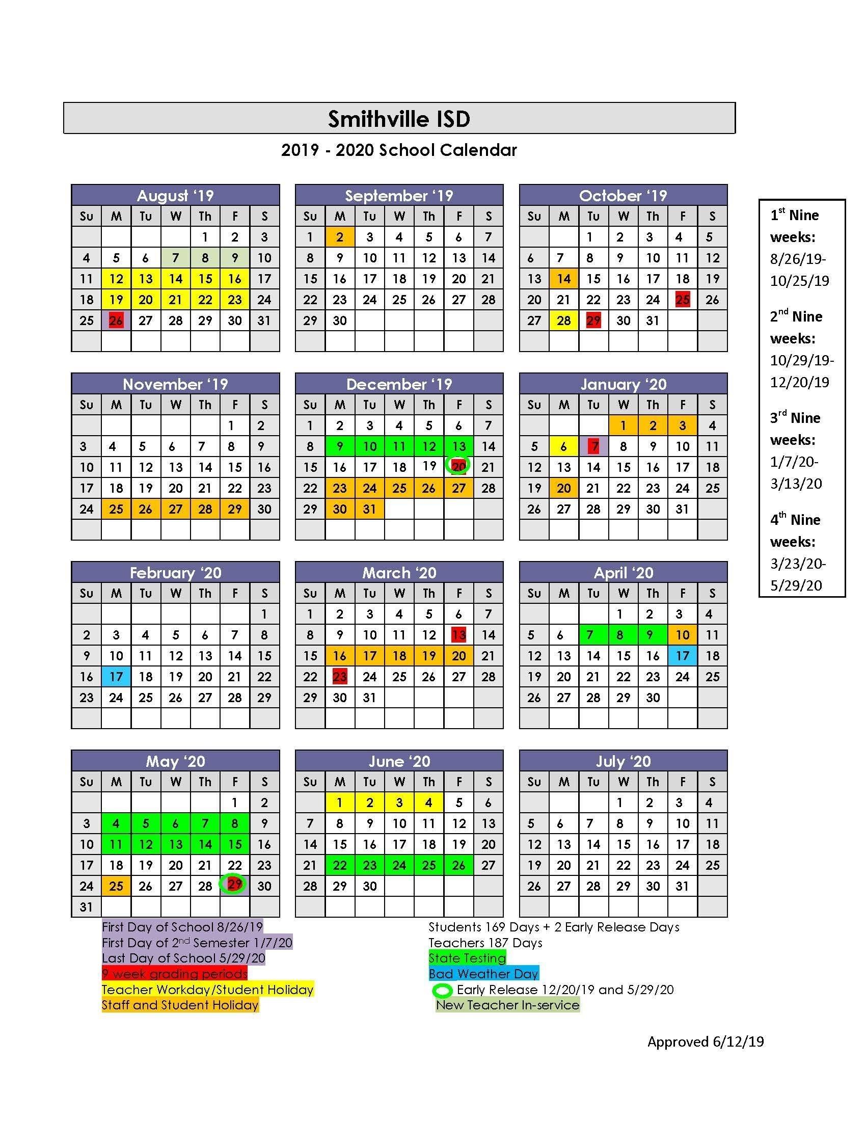 Sisd Academic Calendar – School Board – Smithville Independent pertaining to 2019 2020 Box Calender