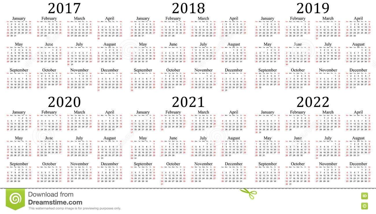 Six Year Calendar - 2017, 2018, 2019, 2020, 2021 And 2022 Stock inside Calendar 2019 2020 2021