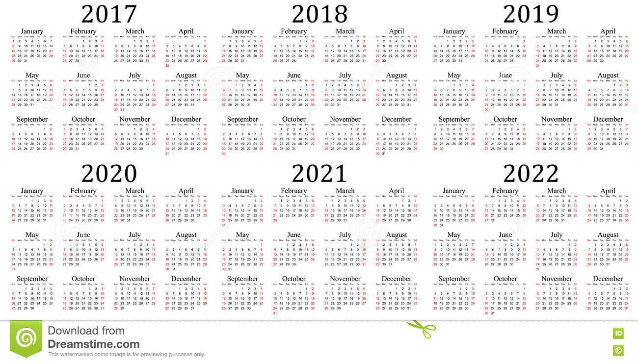 Six Year Calendar - 2017, 2018, 2019, 2020, 2021 And 2022 Stock pertaining to Yearly Calendar 2019 2020 2021