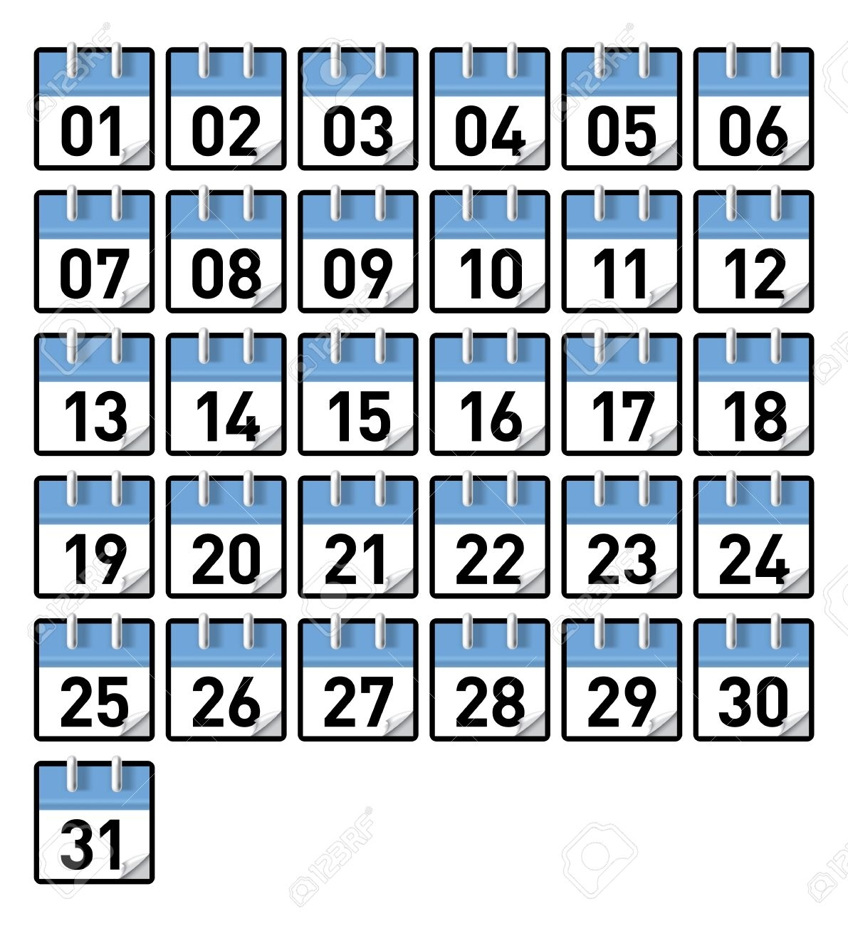 Small Generic Calendars For All 31 Days Of A Month Royalty Free inside Days Of The Month Images