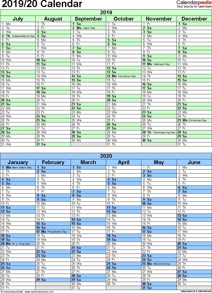 Split Year Calendar 2019/20 (July To June) - Excel Templates pertaining to Split Calendar 2019 2020 South Australia