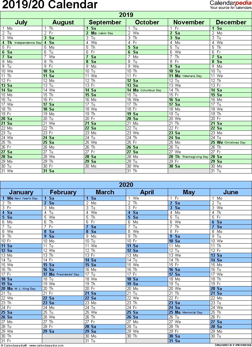 Split Year Calendar 2019/20 (July To June) - Pdf Templates intended for July 2019 To June 2020 Calendar