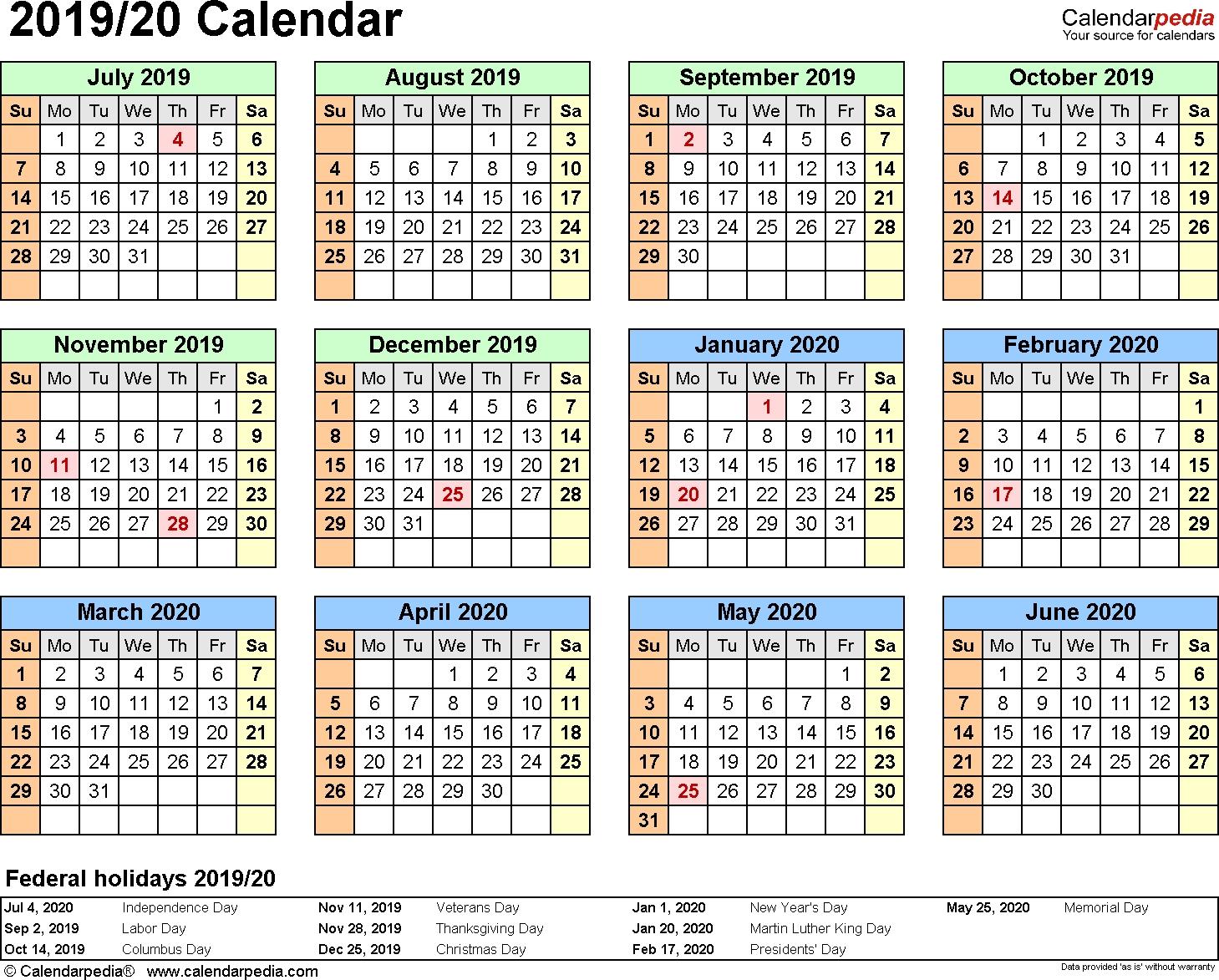 Split Year Calendar 2019/20 (July To June) - Word Templates inside Pritnable 5 Day Calendar 2019-2020