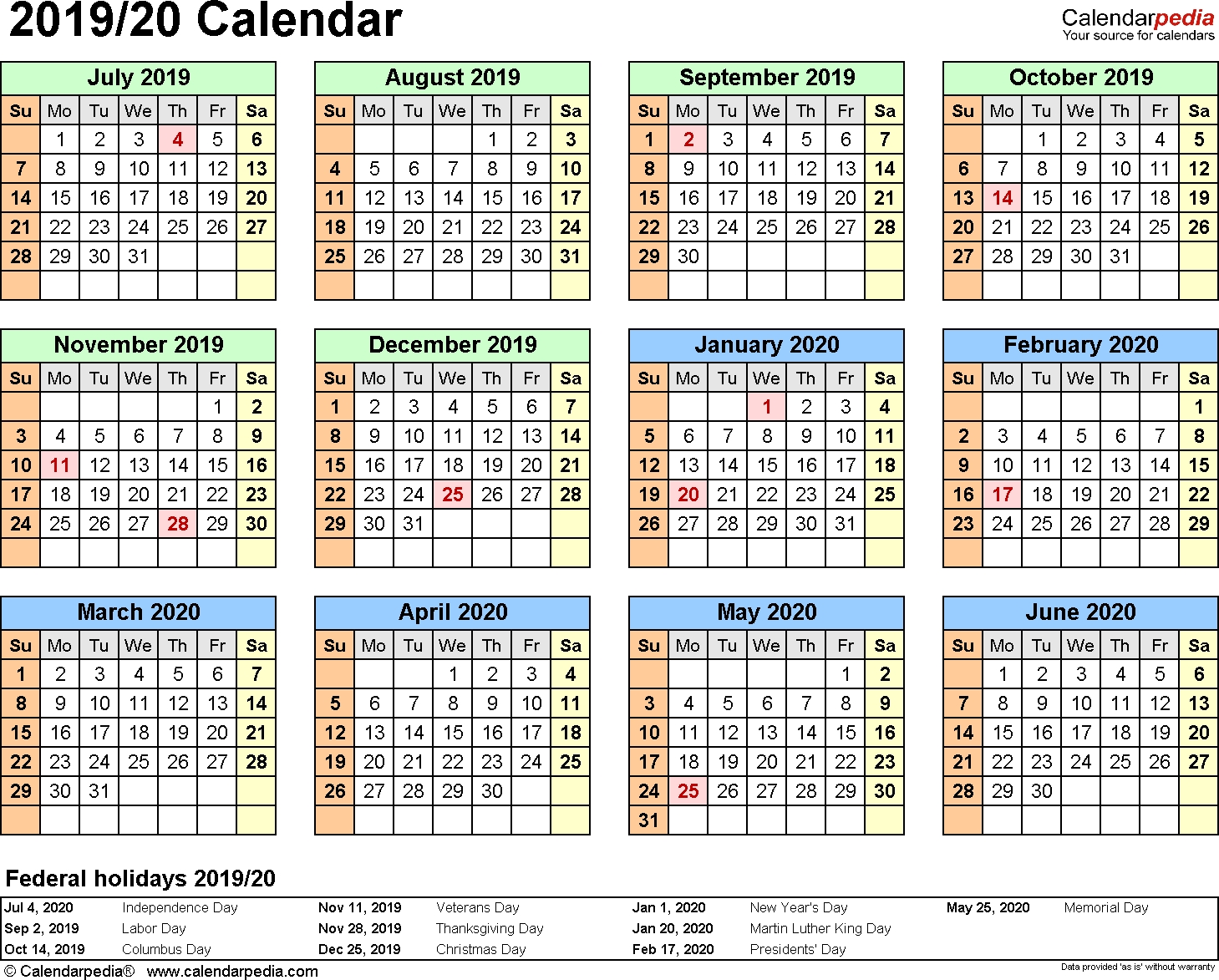 Split Year Calendar 2019/20 (July To June) - Word Templates pertaining to 1 Page Calendar 2019-2020 With Major Holidays