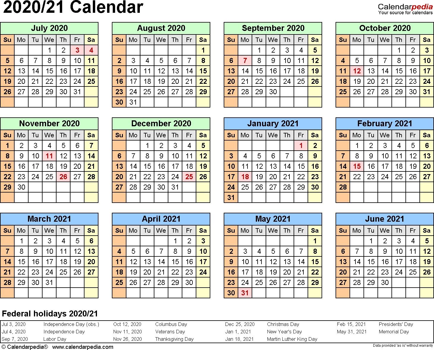 Split Year Calendar 2020/21 (July To June) - Word Templates regarding Year At A Glance Calendar 2020