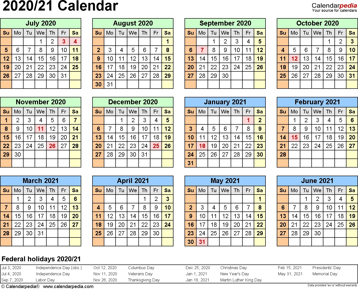 Split Year Calendar 2020/21 (July To June) - Word Templates with Half Page Calendars 2020 Printable