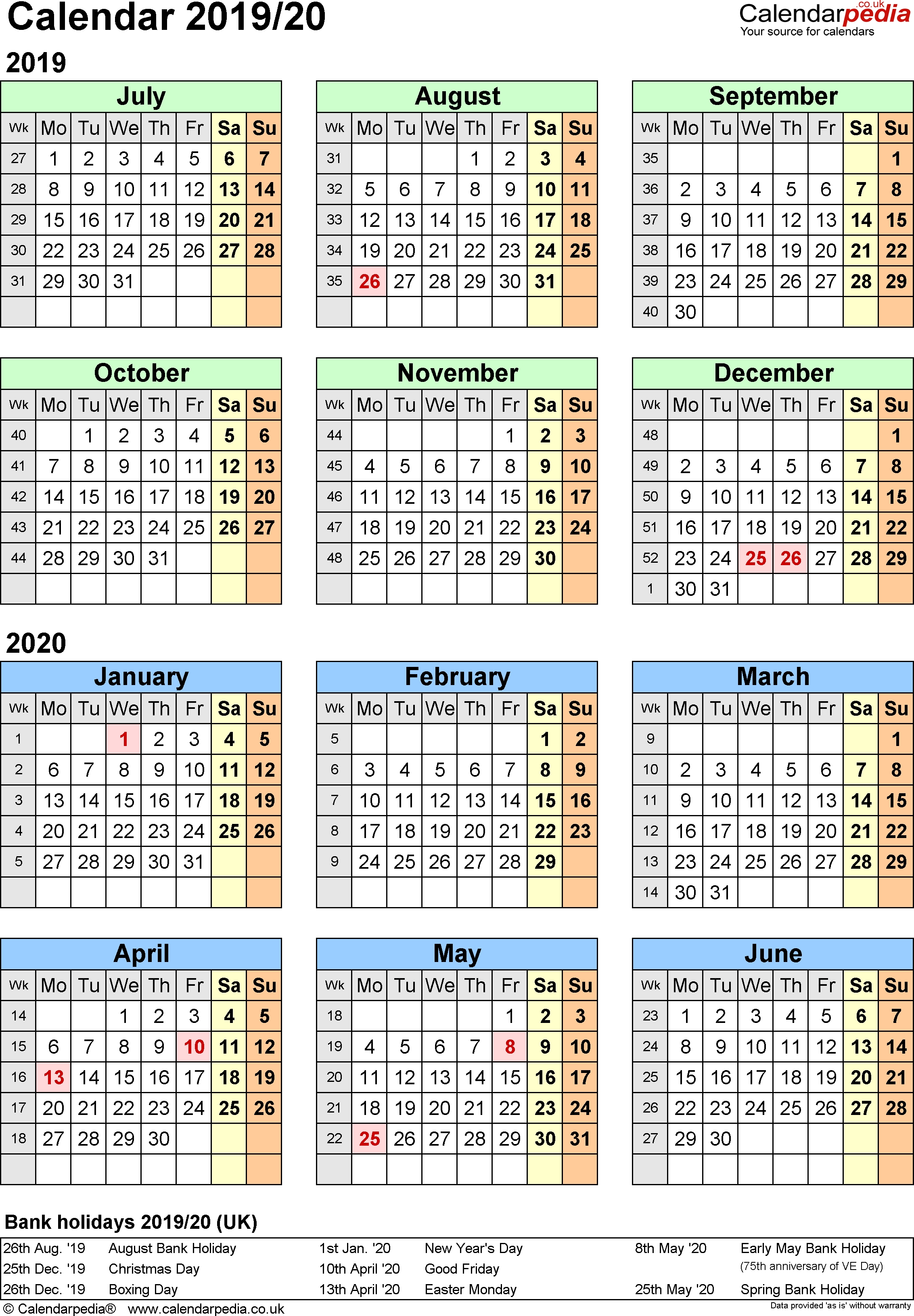Split Year Calendars 2019/20 (July To June) For Word (Uk Version) throughout 2020 Year At A Glance Basic Word