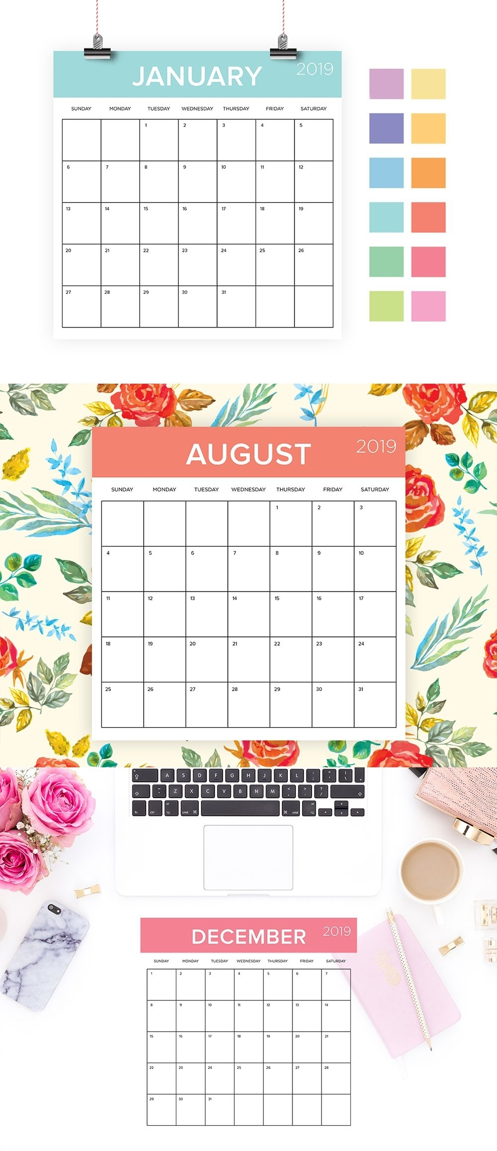 Square 2019 Calendar Template | Instant Download | Color Coded in Printable Neon 12 Month Blank Calendar