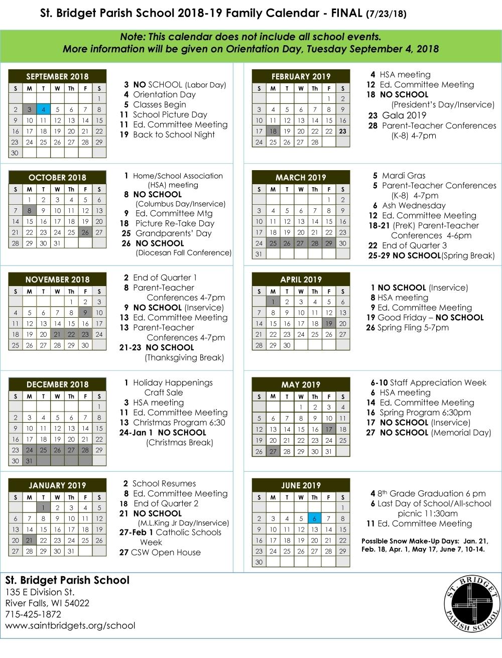 St. Bridget School Calendar - Saint Bridget Catholic Community for Catholic Liturgical Calendar 2020 Pdf