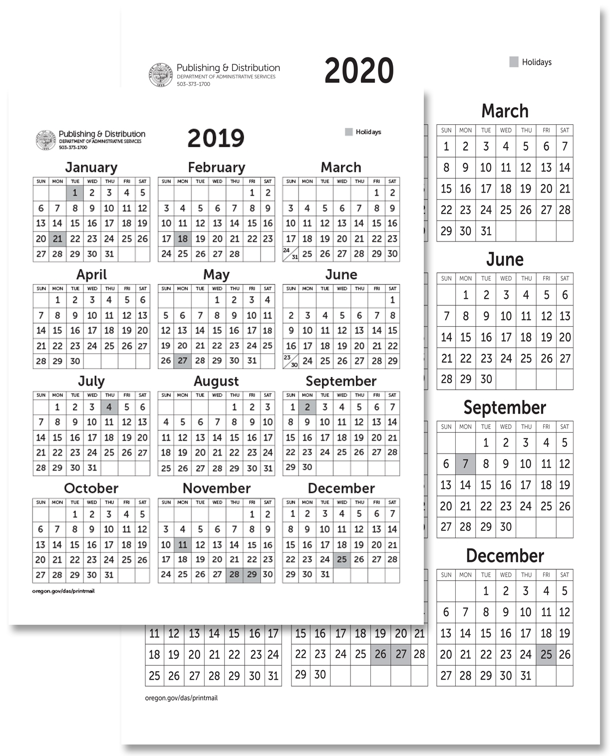 State Of Oregon: Printing, Mailing And Distribution Services - Calendars intended for Printable 8.5 X 11 2020 Calendar
