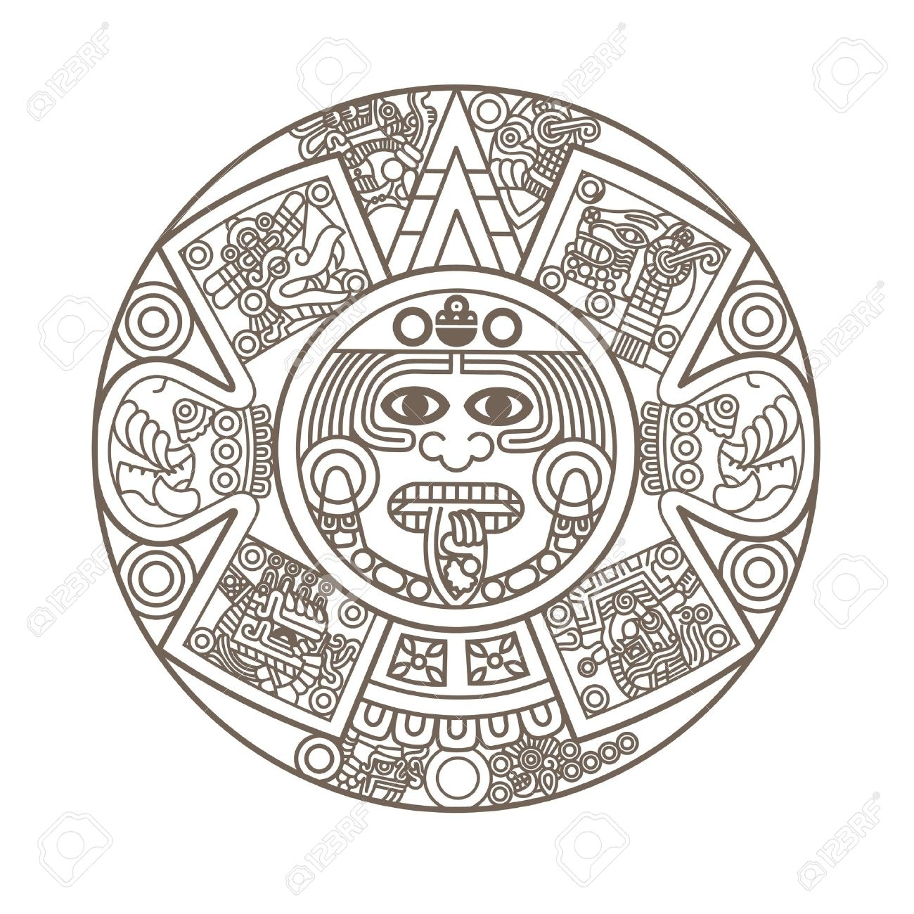 Stylized Aztec Calendar In Gold Color, Vector Illustration Royalty within Aztec Calendar Symbols And Meanings