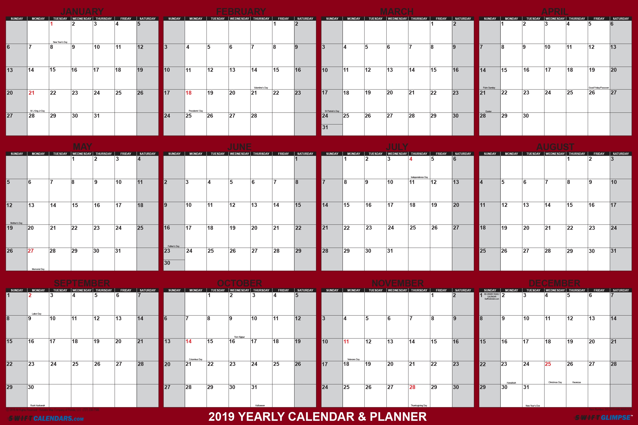 "Swiftglimpse Wall Calendar 2019, Yearly, 24 X 36"", 12 Months Laminated within 12 X 12 Wall Calendar Holder"