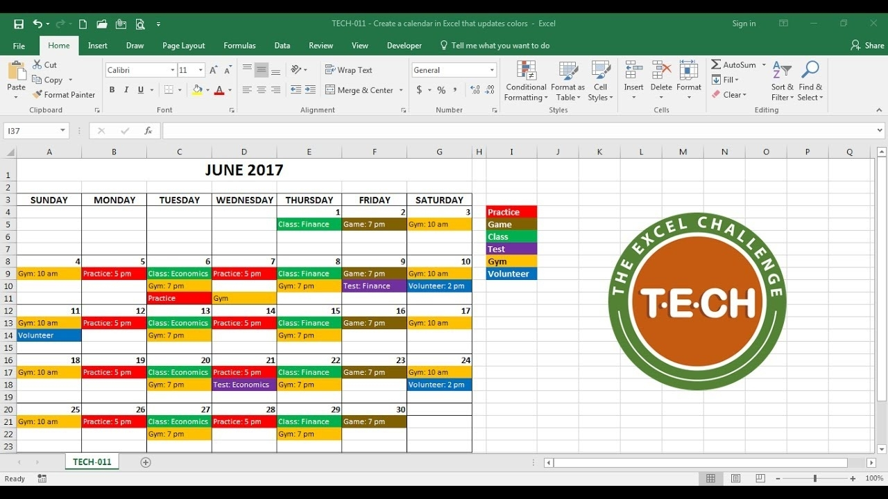 Tech-011 - Create A Calendar In Excel That Automatically Updates in Schedule Of Activities Calendar Format