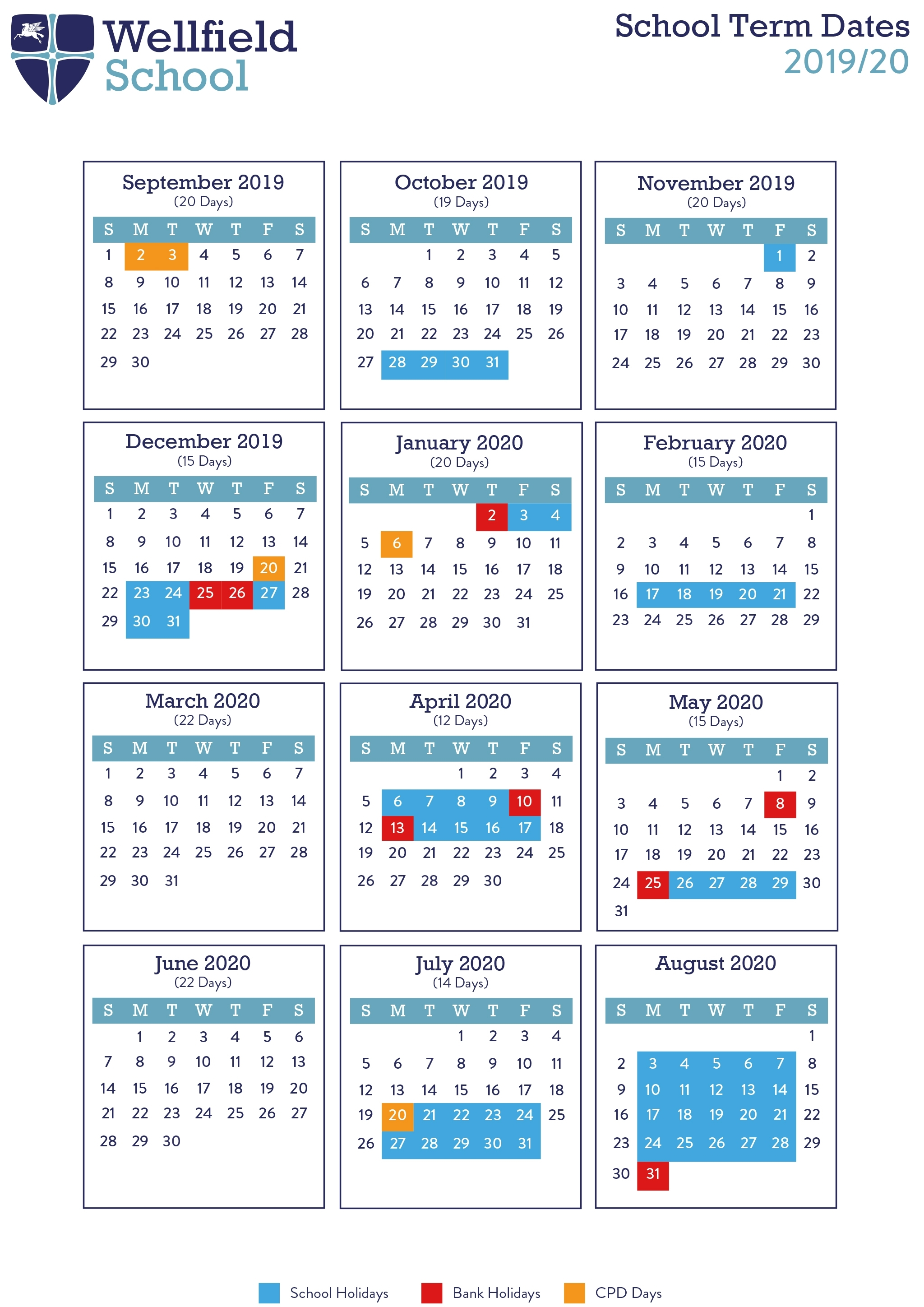 Term Dates 2019/20 - Wellfield School with Special Days Of The Year 2020