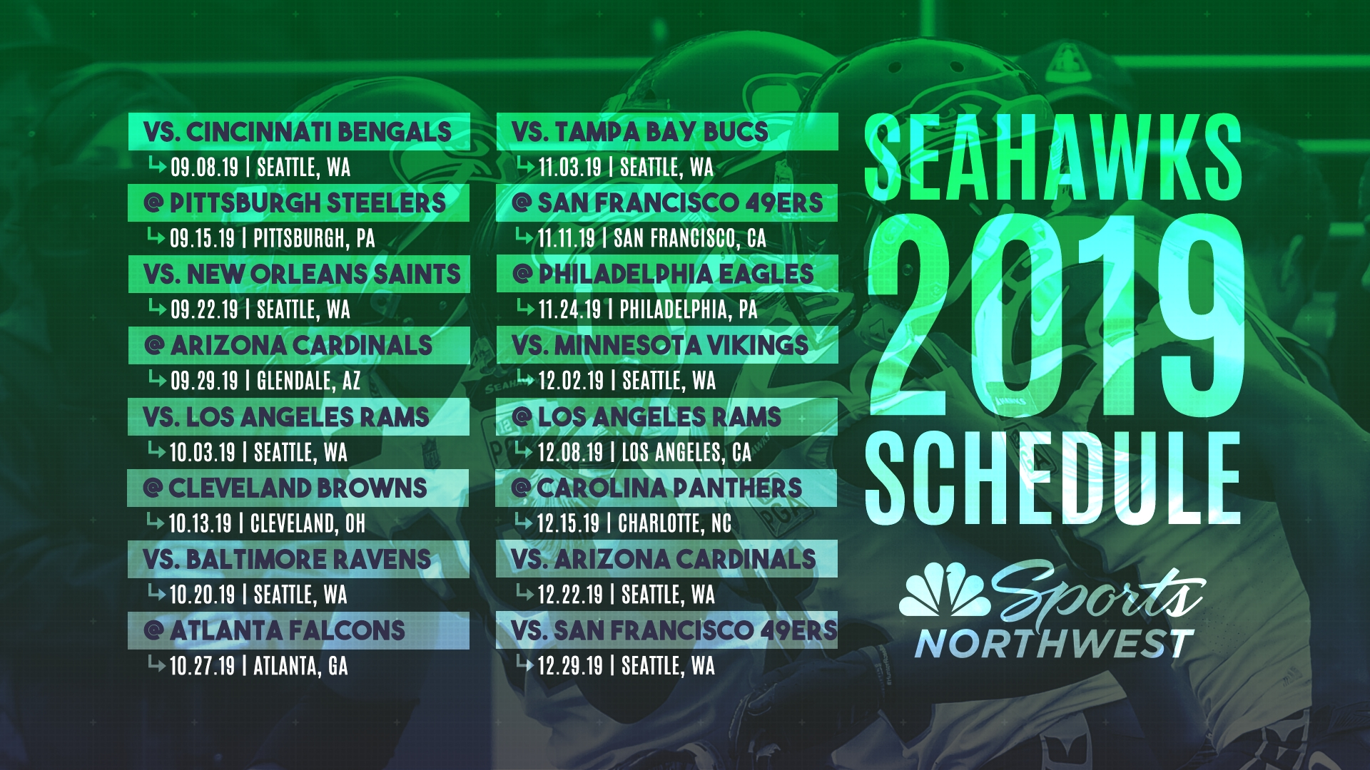 The 2019 Seattle Seahawks Regular Season Schedule Is Here! | Nbc with regard to 2019-2020 Nfl Schedule
