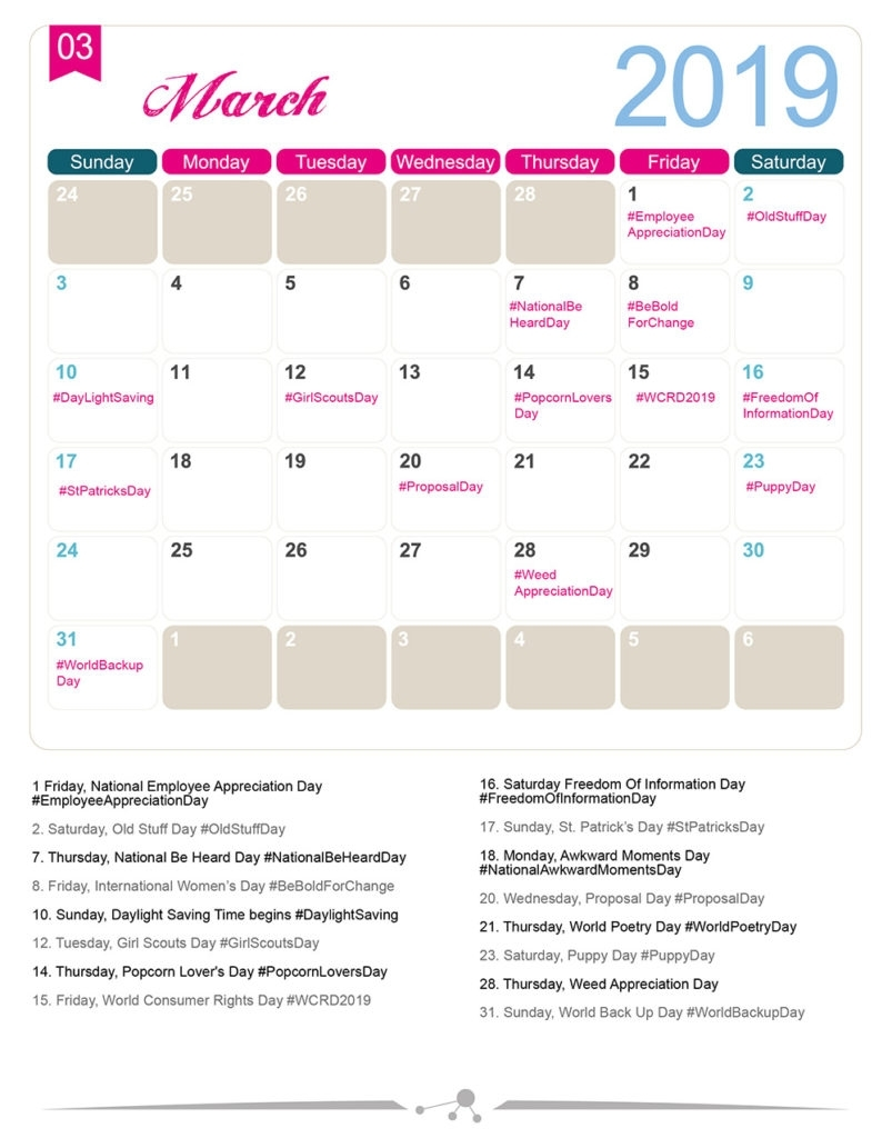 The 2019 Social Media Holiday Calendar - Make A Website Hub in 2019-2020 National Days Calendar