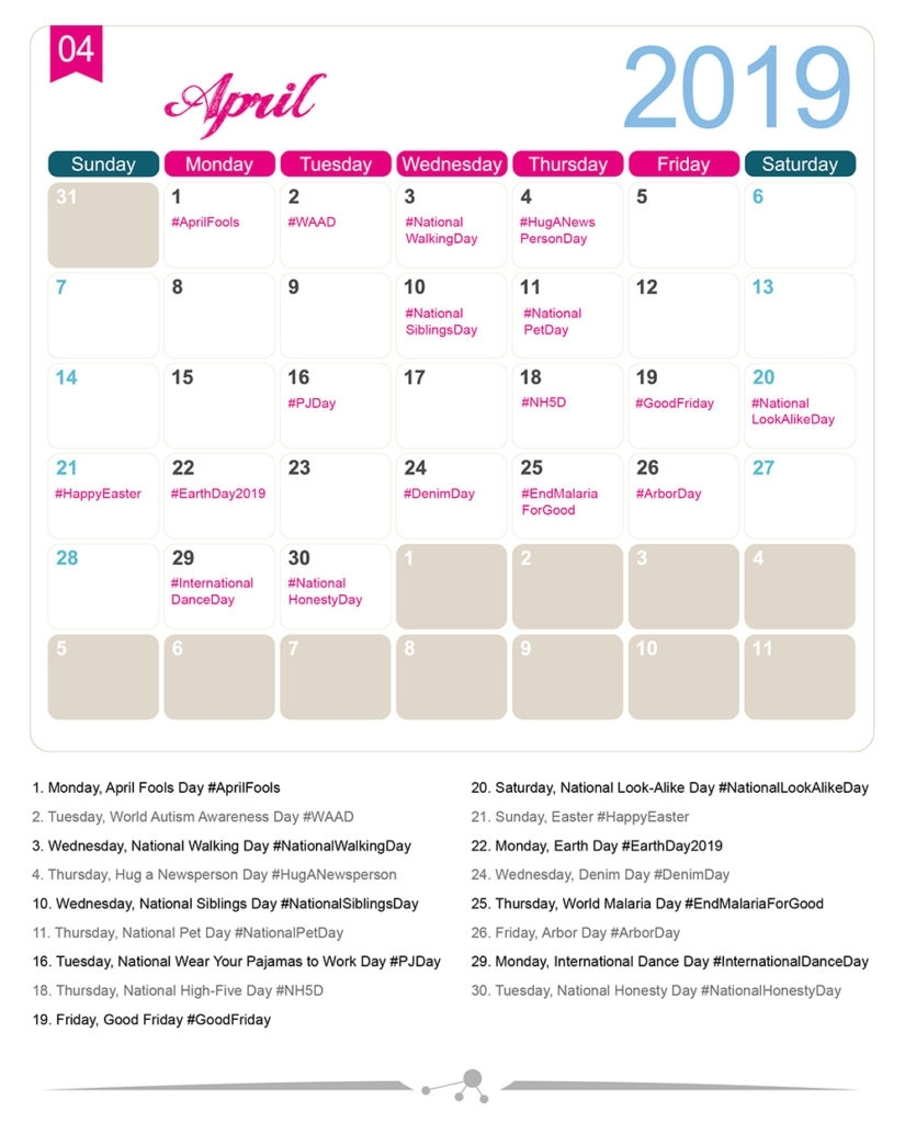 The 2019 Social Media Holiday Calendar - Make A Website Hub pertaining to 2019-2020 National Days Calendar