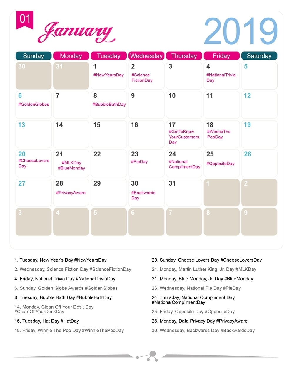 The 2019 Social Media Holiday Calendar - Make A Website Hub with regard to 2019-2020 National Days Calendar