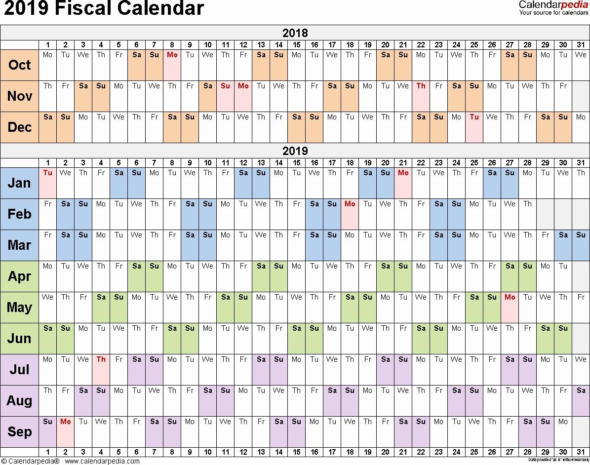 Three Month Calendar Template Excel Fresh Fiscal Calendars 2019 As throughout 3 Month Calendar Template Word