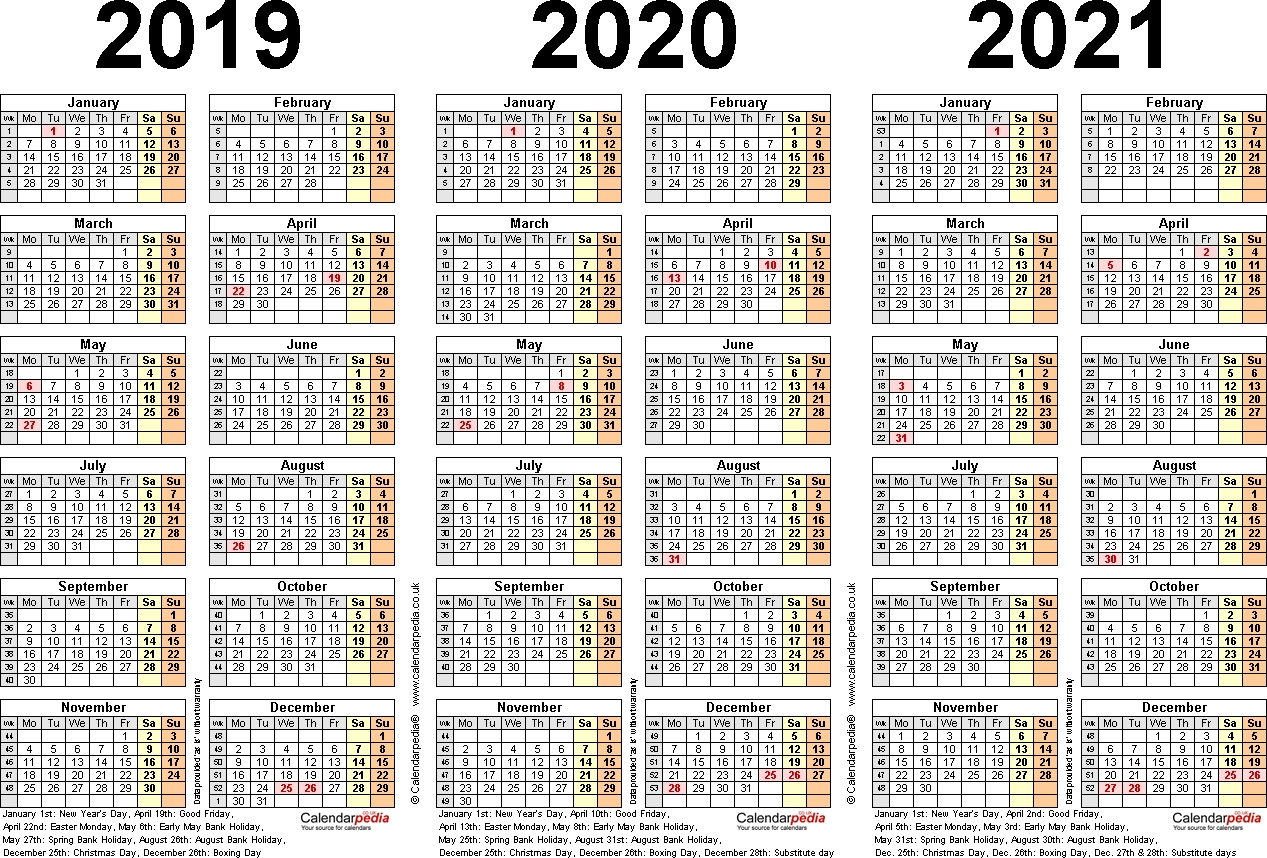 Three Year Calendars For 2019, 2020 & 2021 (Uk) For Word pertaining to Yearly Calendar 2019 2020 2021