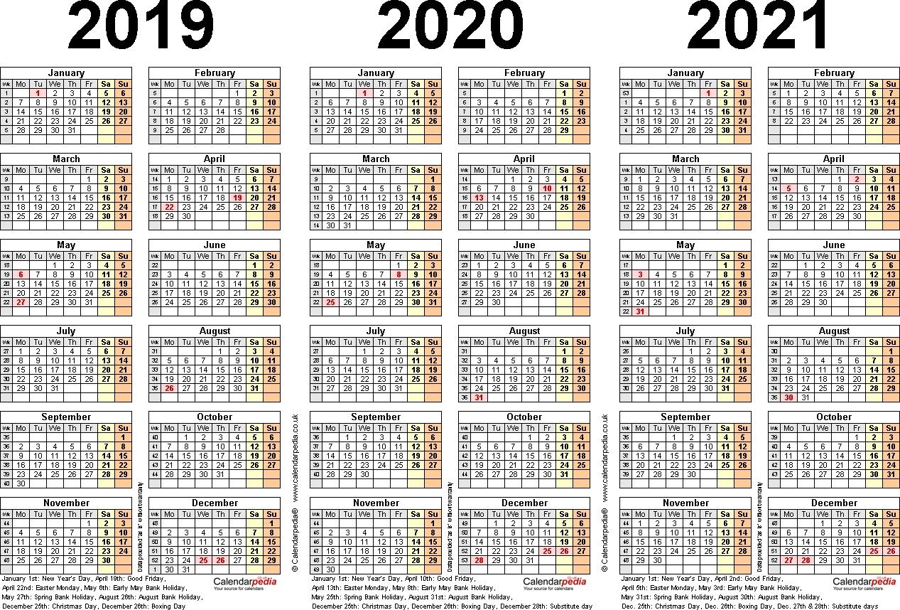 Three Year Calendars For 2019, 2020 & 2021 (Uk) For Word regarding Three Year Calendar 2019 2020 2021