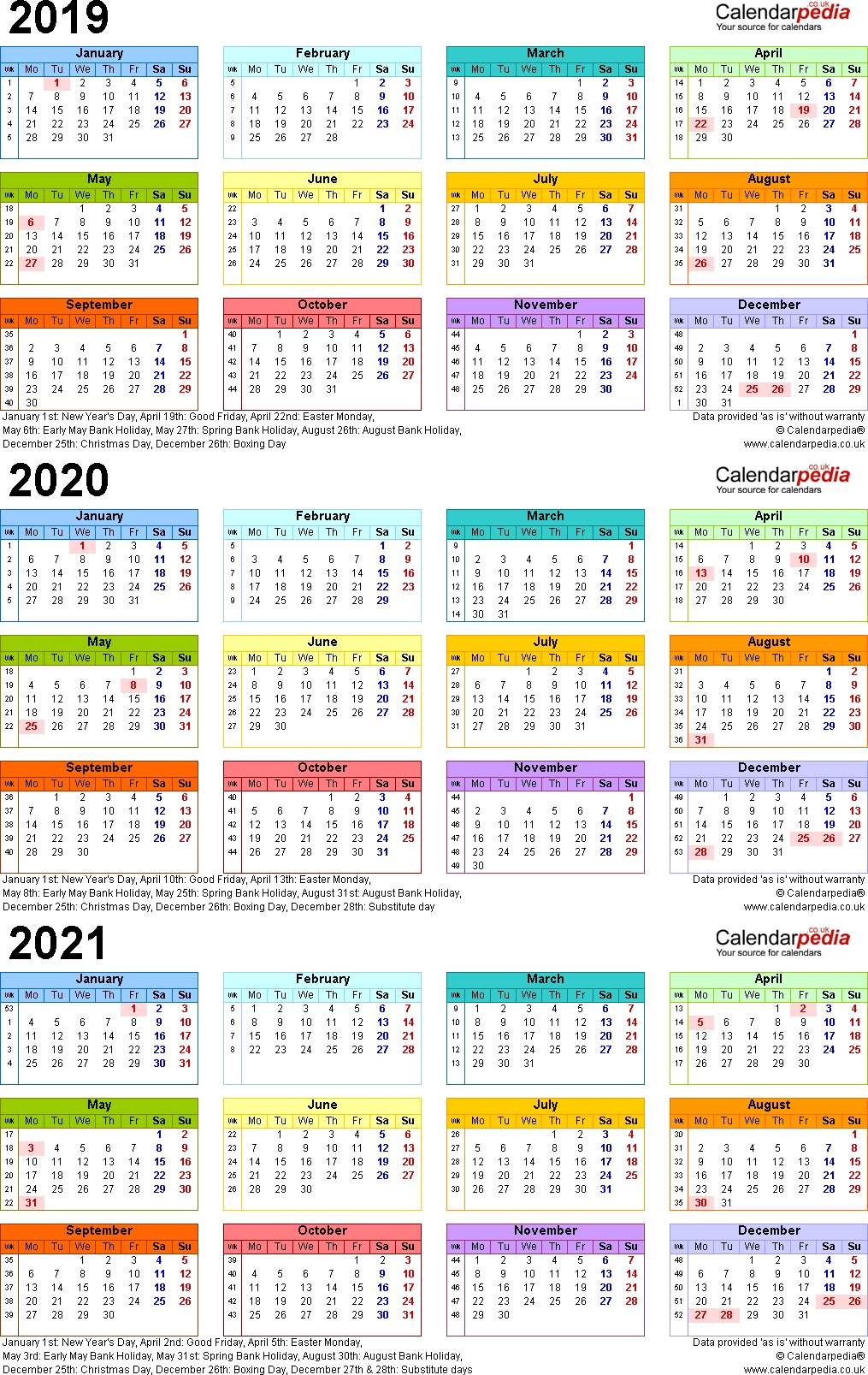 Three Year Calendars For 2019, 2020 & 2021 (Uk) For Word throughout Three Year Calendar 2019 2020 2021