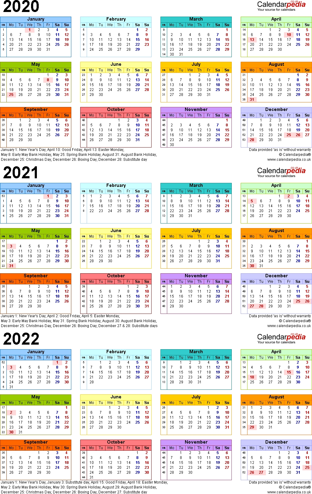 Three Year Calendars For 2020, 2021 & 2022 (Uk) For Word in Three-Year Calendar 2019, 2020, 2021