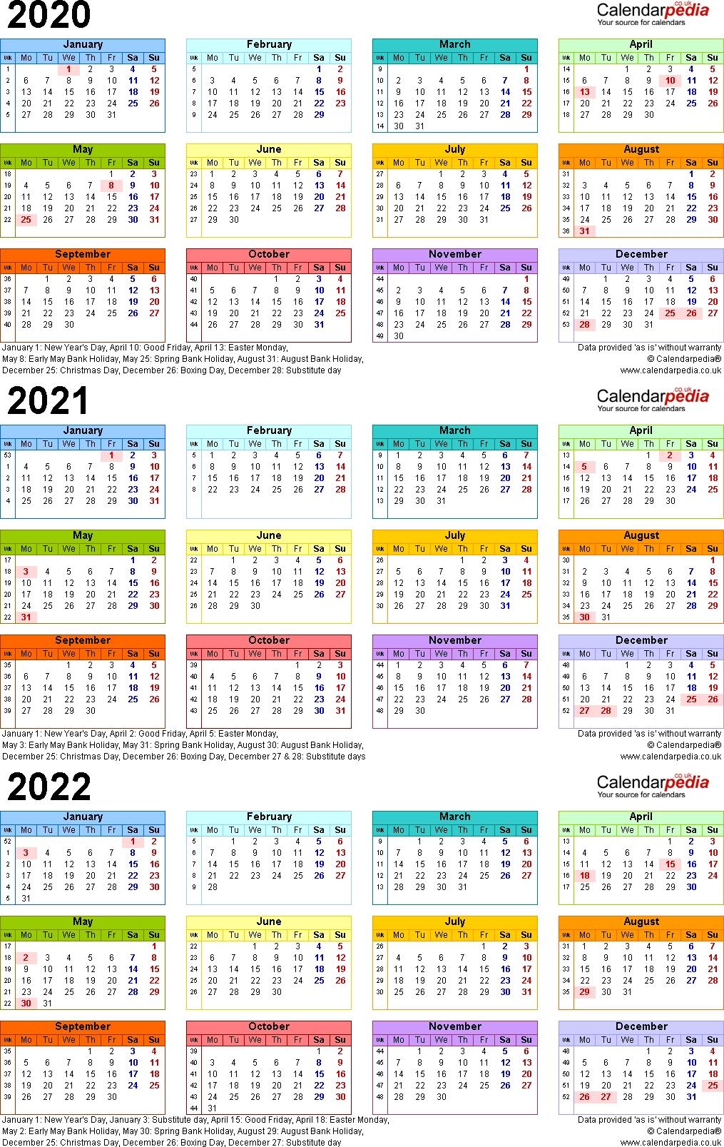 Three-Year Calendar 2019, 2020, 2021 - Calendar ...