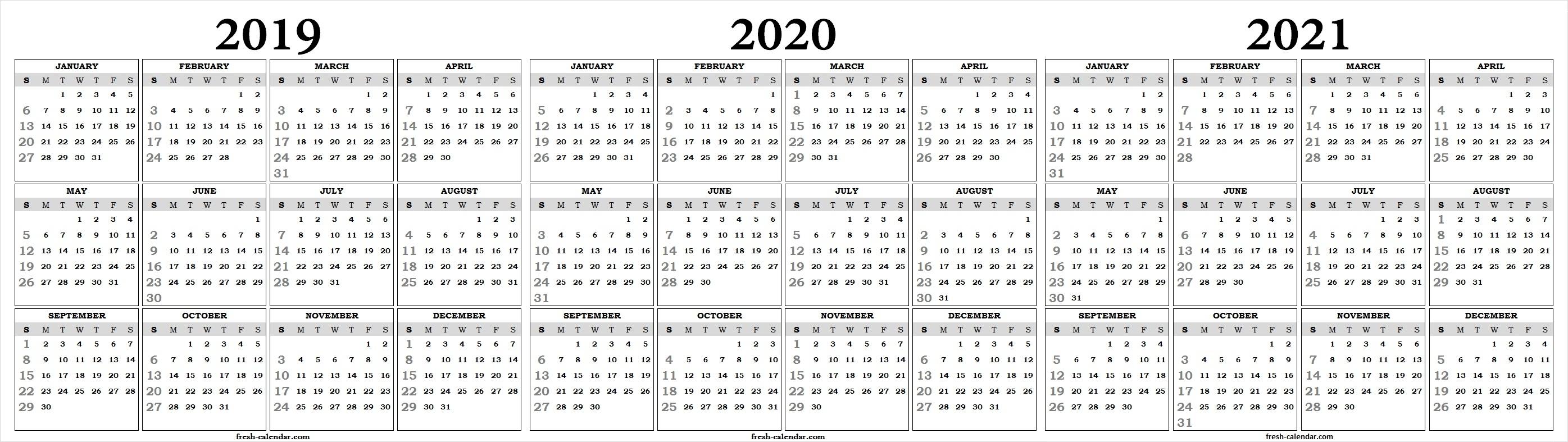 Three Yearly 2019 2020 2021 Calendar Printable Free | Blank Template for 3 Year Calendar 2019 2020 2021